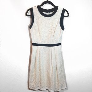 MILLY Cream Lace Crochet Flare Button Dress